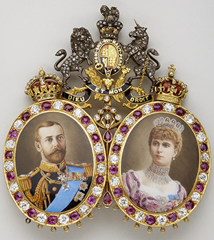 Miniatures of King George V (1865-1936) and Queen Mary (1867-1953) – 2nd quarter of the 20th century – Gold, silver, diamonds, rubies, enamel
