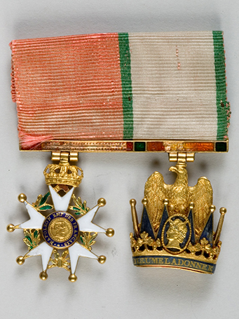 The Insignia of the Legion of Honor and of the Iron Crown worn by the Emperor – Gold and enamel